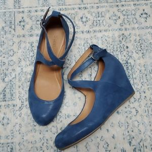 Blue Suede Gentle Souls Wedge Criss Cross Ankle